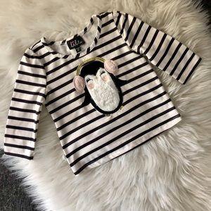 Lilt 🐧 Black & White Striped Long Sleeve Tee